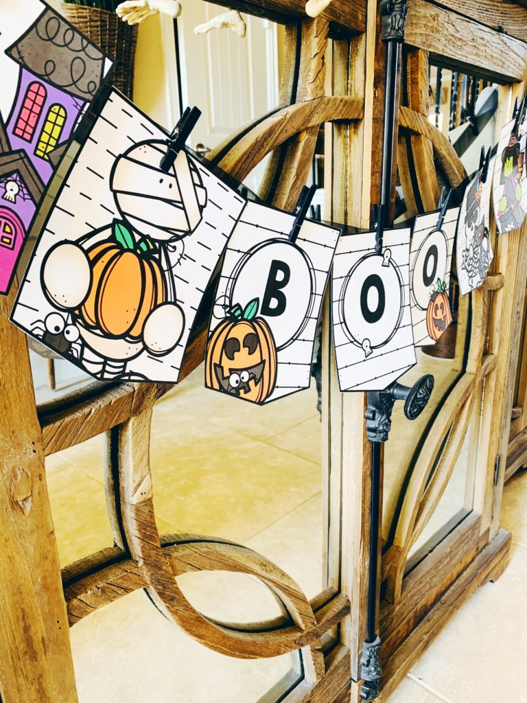 Editable Halloweeen Coloring Banner